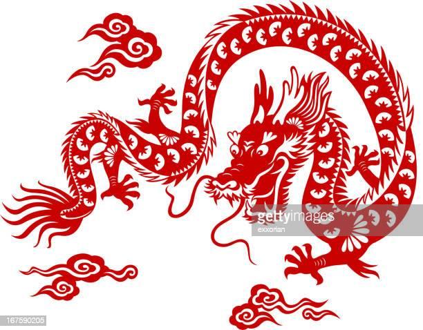 chinese dragon paper-cut art - chinese dragon stock illustrations