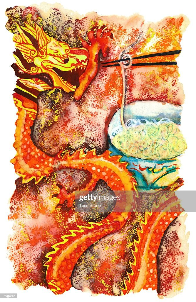 Chinese Dragon with Noodles : Stock Illustration