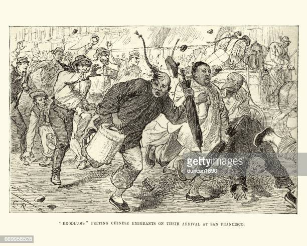 Chinese emigrants being attacked by locals, San Francisco, 19th Century