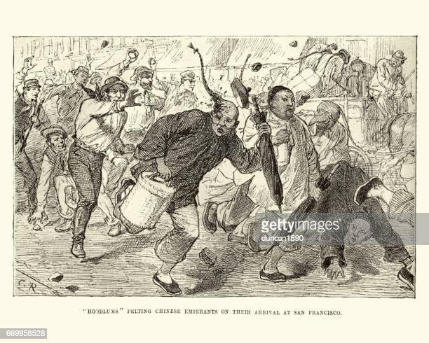 Chinese emigranten aangevallen door de lokale bevolking, San Francisco, 19e eeuw