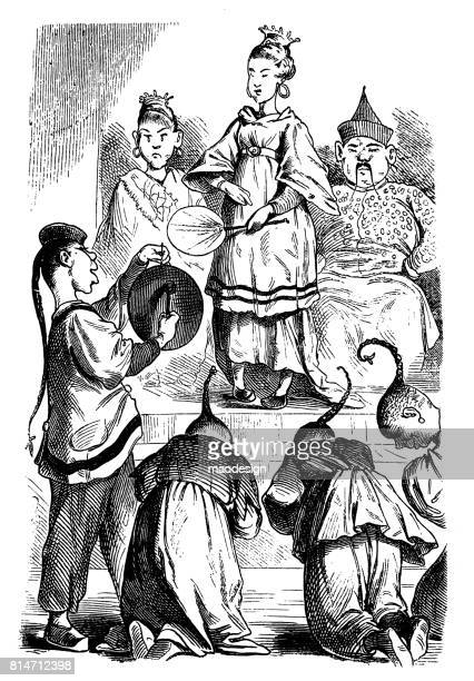chinese empress surrounded by their servants takes part in the ceremony. men dressed in traditional chinese costumes give a deep greeting in the direction of the  empress - illustration 1867 - empress stock illustrations, clip art, cartoons, & icons