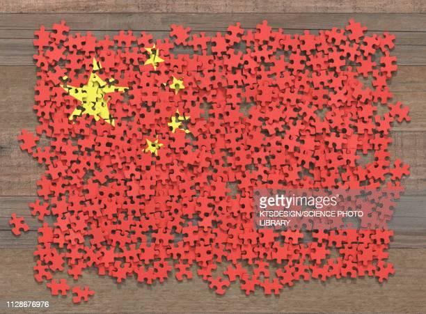 chinese flag jigsaw puzzle, illustration - toy stock illustrations