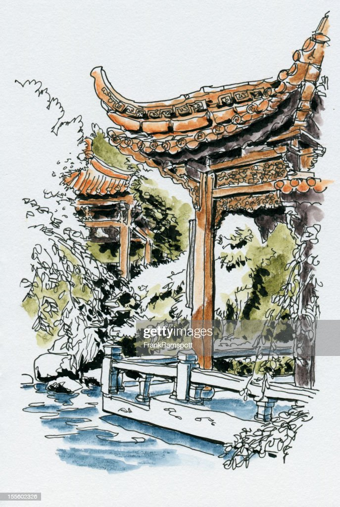 Chinese Garden Westpark Watercolor Ink Sketch Stock Illustration