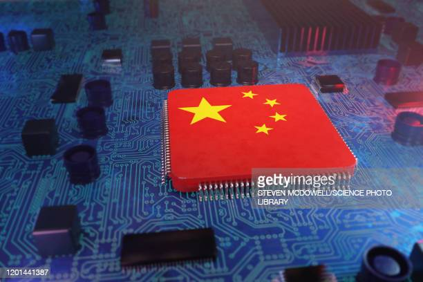 chinese hacking, conceptual illustration - technology stock illustrations