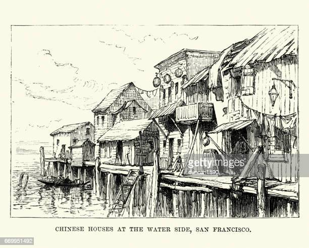 Chinese Houses,Water side, San Francisco, 19th Century