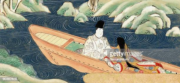 Chinese Lovers in a boat eloping