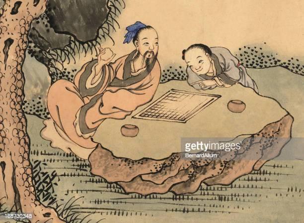 ilustrações, clipart, desenhos animados e ícones de chinês mah-jong jogadores - mt. fuji