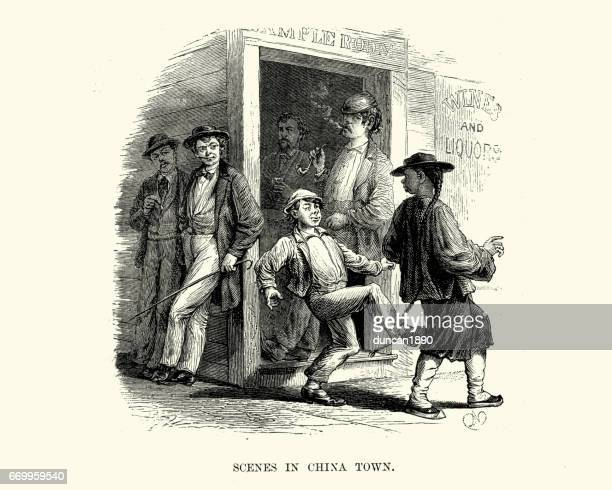 chinese man assaulted by a youth, san francisco, 19th century - chinese ethnicity stock illustrations