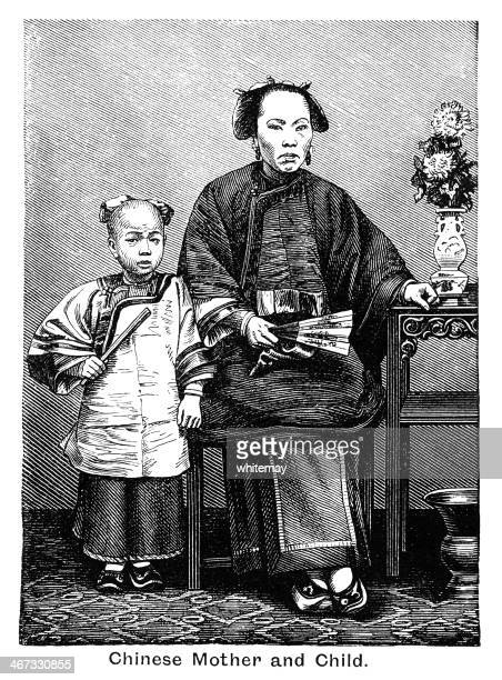 Chinese mother and child - Victorian engraving