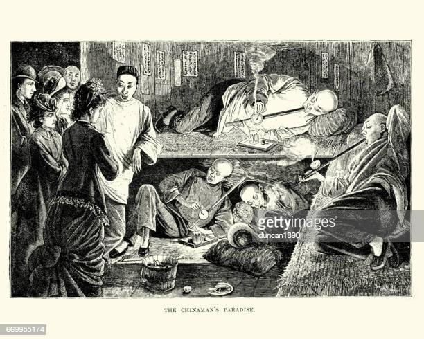 chinese opium den, san francisco, 19th century - opium stock illustrations