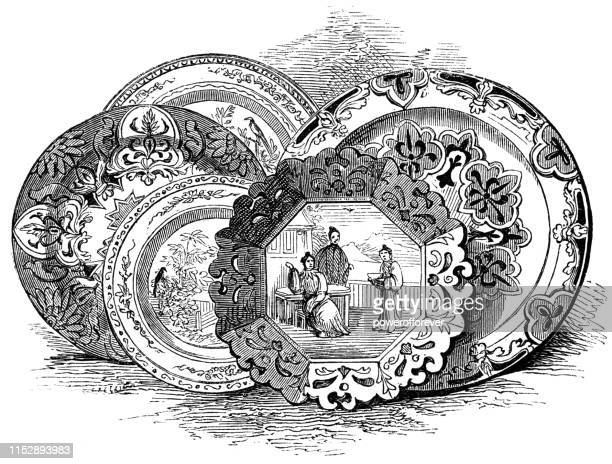 chinese porcelain dishes - 17th century - porcelain stock illustrations