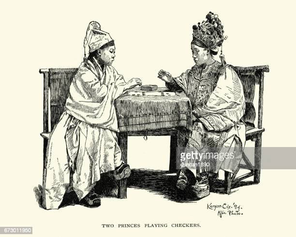 Chinese princes playing checkers, 19th Century