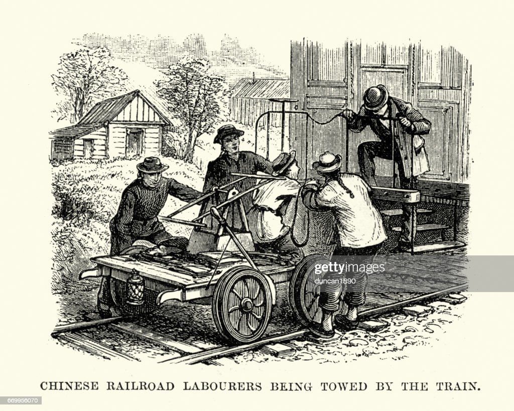 Chinese Railroad Workers, San Francisco, 19th Century : stock illustration