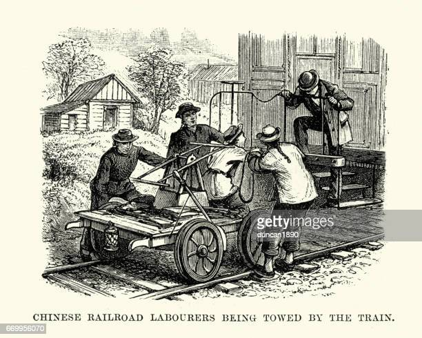 chinese railroad workers, san francisco, 19th century - rail transportation stock illustrations