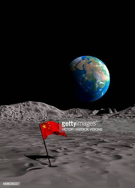 chinese space programme, artwork - national flag stock illustrations