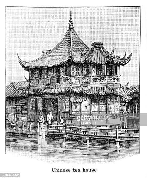 chinese tea house engraving 1892 - tea room stock illustrations