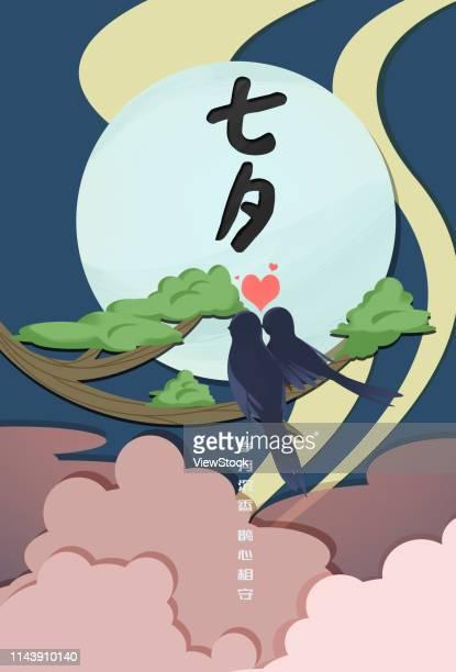 bildbanksillustrationer, clip art samt tecknat material och ikoner med chinese valentine's day - european magpie