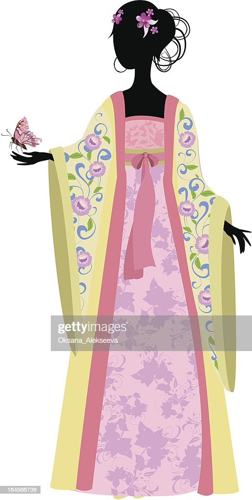 Chinese woman with butterfly in traditional costume