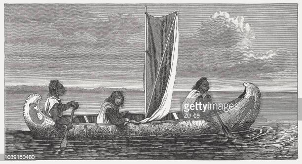 Chippewa indians in a birchbark canoe, wood engraving, published 1876