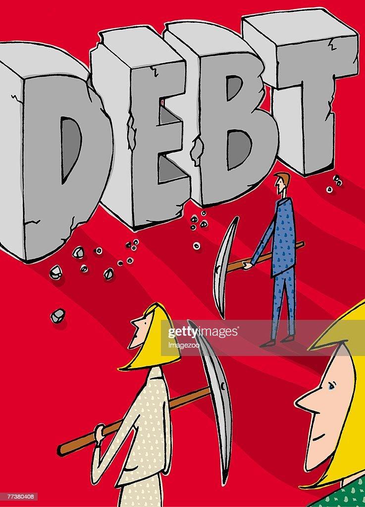 chipping away at debt : Illustration