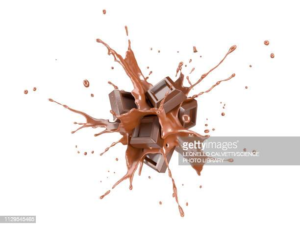 chocolate blocks exploding, illustration - food and drink stock illustrations