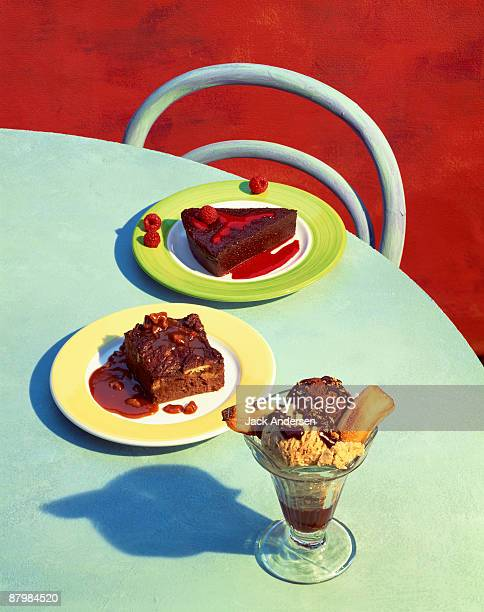 chocolate desserts on graphic background - brownie stock illustrations, clip art, cartoons, & icons
