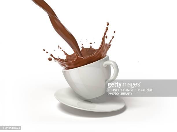 chocolate splashing into cup and saucer, illustration - freshness stock illustrations