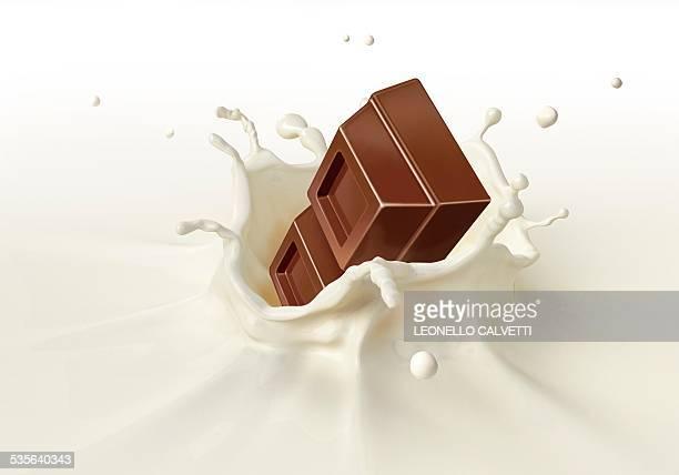 chocolate splashing into milk, artwork - milk chocolate stock illustrations, clip art, cartoons, & icons