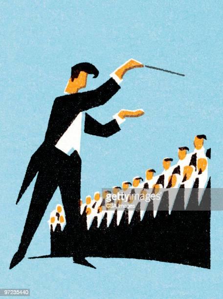 ilustraciones, imágenes clip art, dibujos animados e iconos de stock de conductor de coro - director de orquesta
