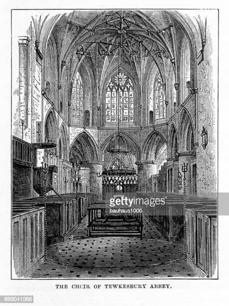 choir loft, tewkesbury abbey, gloucestershire, england victorian engraving, 1840 - nave stock illustrations