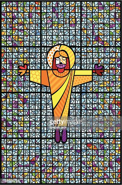 christ and stained glass - jesus stock illustrations, clip art, cartoons, & icons