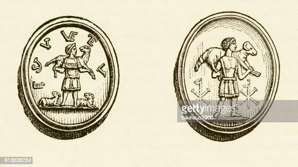Christus als de goede herder christelijke symboliek gravure