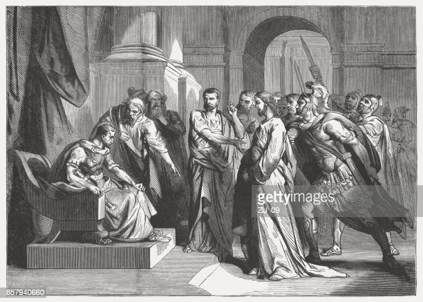 christ before pilate (mark 15), wood engraving, published in 1886 - jesus christ stock illustrations, clip art, cartoons, & icons