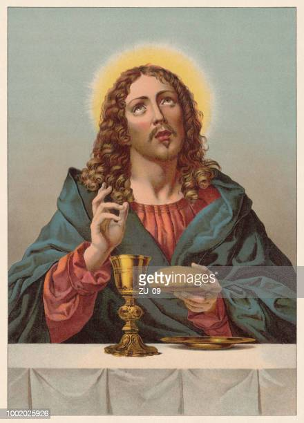 christ, blessing bread and wine, painted (ca.1670) by dolci (1616-1686) - holy week stock illustrations, clip art, cartoons, & icons