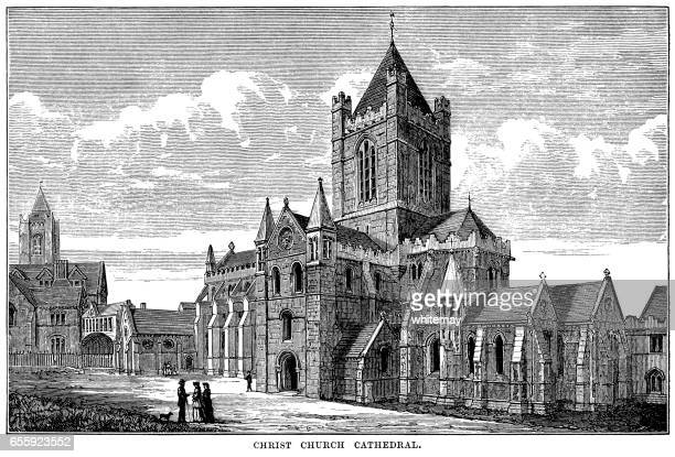 christ church cathedral, dublin (victorian engraving) - protestantism stock illustrations, clip art, cartoons, & icons
