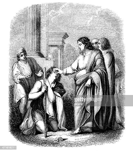 christ curing the blind. - blindness stock illustrations, clip art, cartoons, & icons