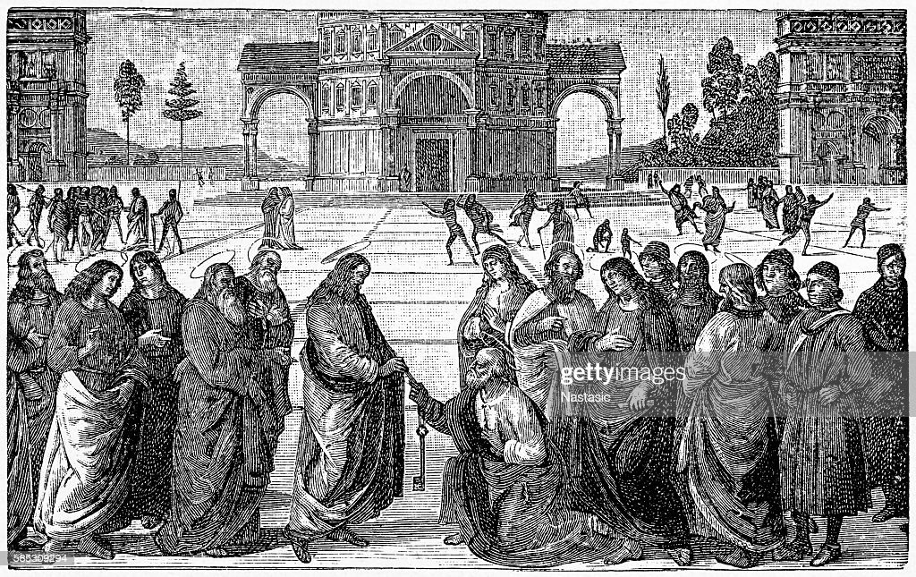 Christ Giving the Keys of the Kingdom to St. Peter : Stock Illustration