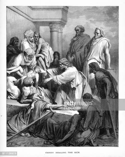 christ healing the sick and affirmed biblical engraving - jesus christ stock illustrations, clip art, cartoons, & icons