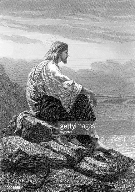 christ rests by the sea - jesus christ stock illustrations, clip art, cartoons, & icons