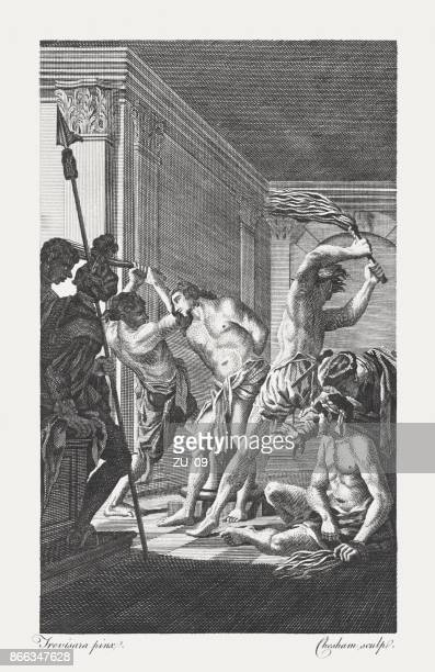 christ scourged (john 19, 1), copperplate engraving, published in 1774 - holy week stock illustrations, clip art, cartoons, & icons
