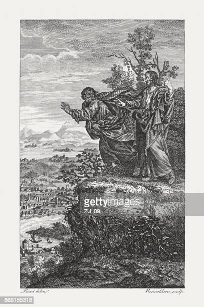 christ tempted by the devil (matthew 4, 10), published 1774 - temptation stock illustrations, clip art, cartoons, & icons
