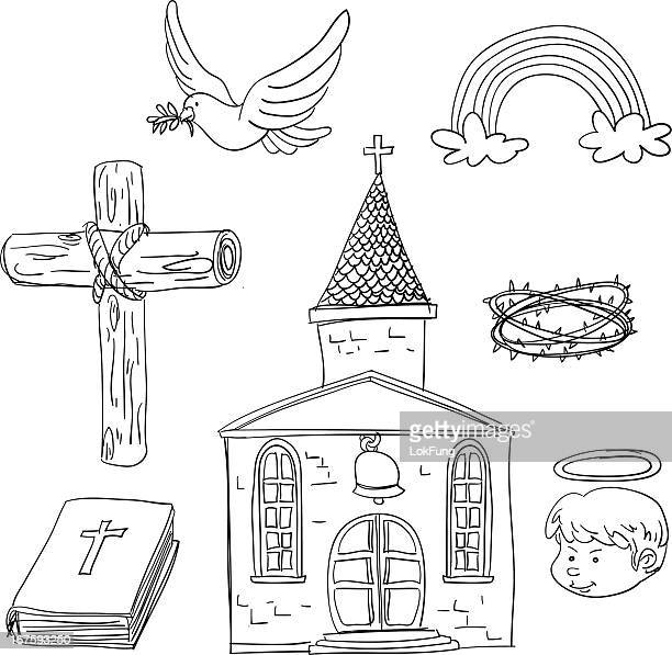 christian elements in black and white - place of worship stock illustrations