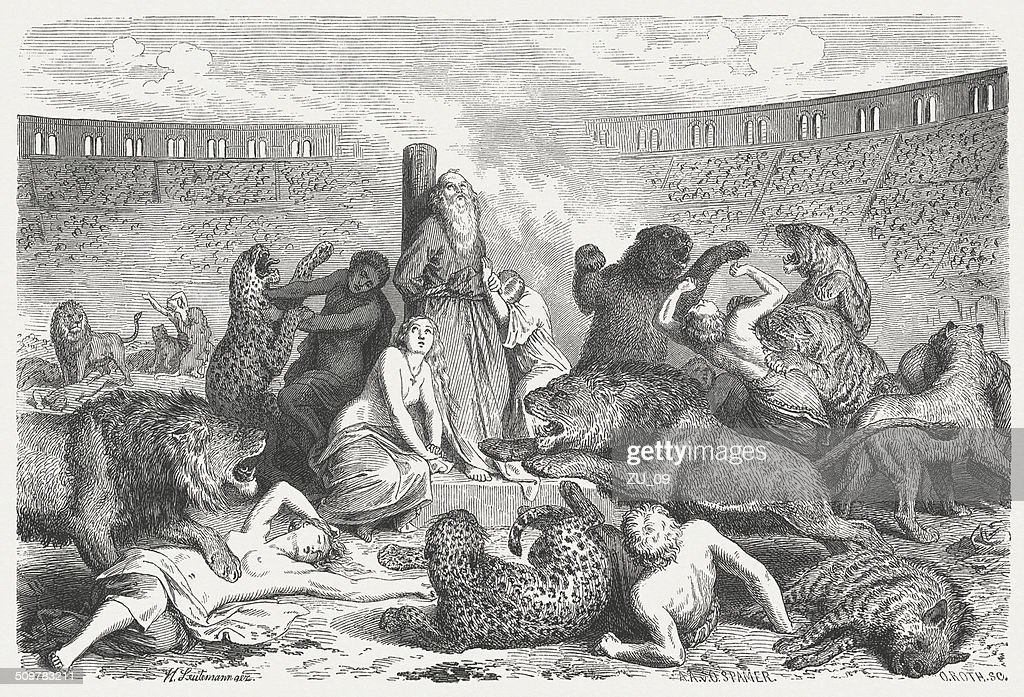 Christian martyrs in ancient Rome, wood engraving, published 1864 : stock illustration