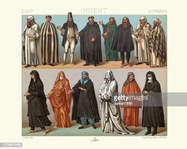 christian monks and nuns of the east, 19th century - religious occupation stock illustrations