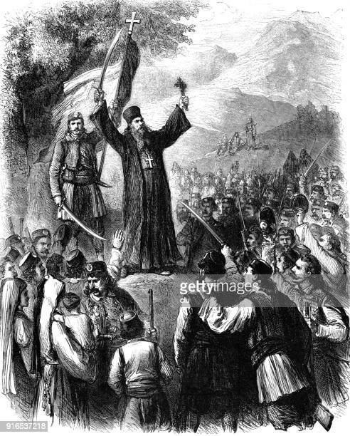 a christian priest preaches in montenegro to fight against the turks - montenegro stock illustrations, clip art, cartoons, & icons