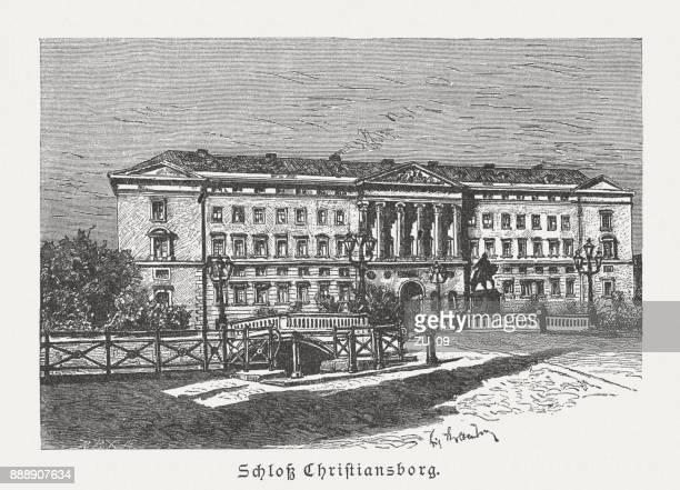 コペンハーゲン、デンマーク、木の彫刻、クリスチャンスボー城は 1887 年に公開 - クリスチャンスボー城点のイラスト素材/クリップアート素材/マンガ素材/アイコン素材
