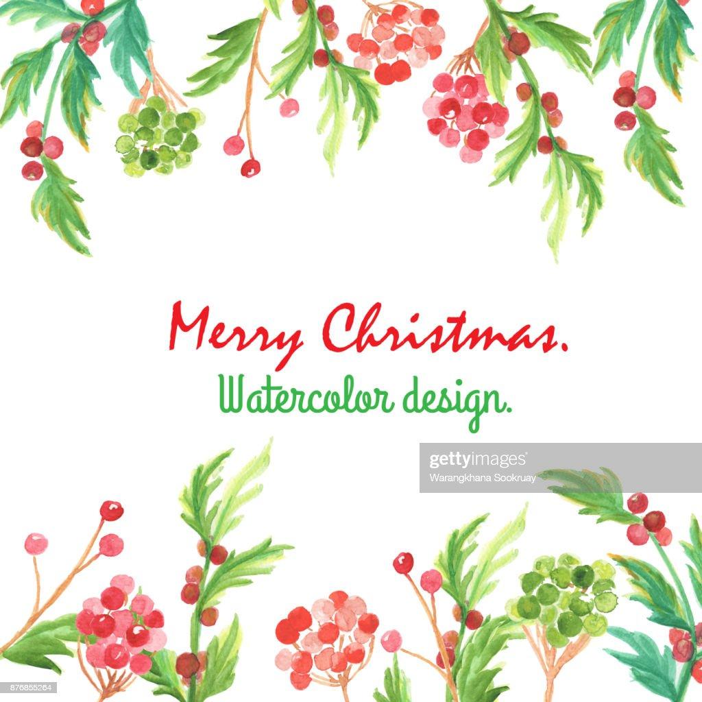 Weihnachten Und Neujahr Karte Aquarell Clipartgrafiken Mit Kugel