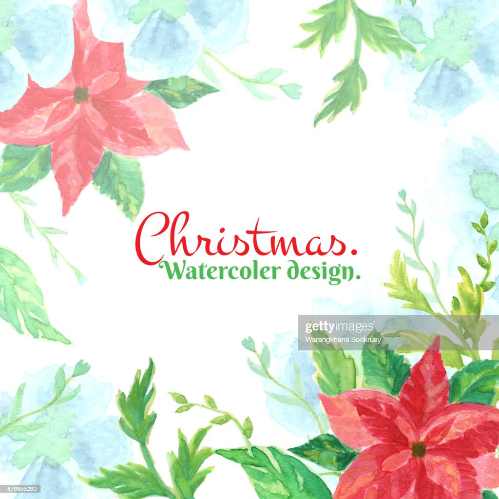 Christmas And New Year Card Watercolor Clip Art With Poinsettia And ...
