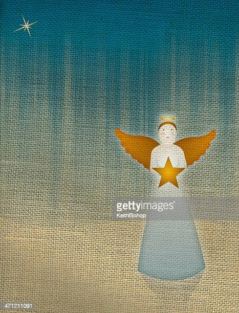Christmas Angel with Star on Burlap Background