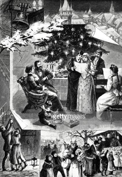 christmas at home and in town, composite images - christmas past and christmas present stock illustrations